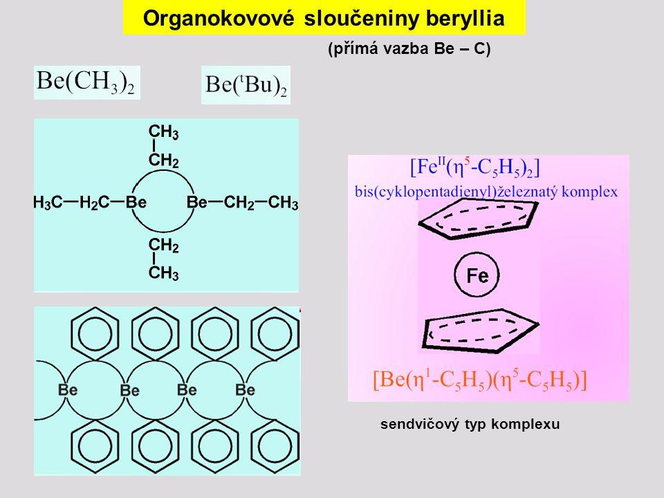 Organokovové sloučeniny beryllia (přímá vazba Be – C) sendvičový typ komplexu