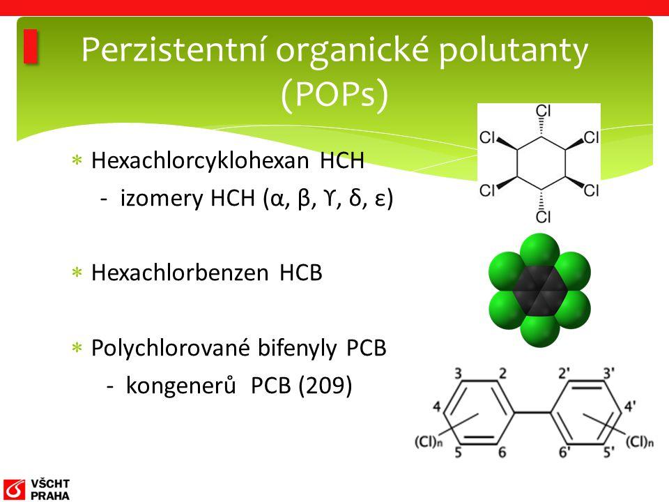  Hexachlorcyklohexan HCH - izomery HCH (α, β, ϒ, δ, ε)  Hexachlorbenzen HCB  Polychlorované bifenyly PCB - kongenerů PCB (209) Perzistentní organické polutanty (POPs)