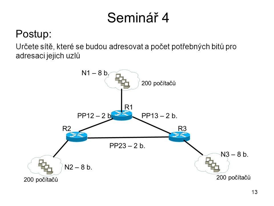Seminář 4 Postup: Určete sítě, které se budou adresovat a počet potřebných bitů pro adresaci jejich uzlů 13