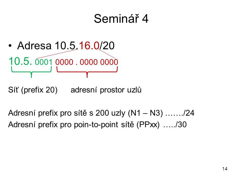 Seminář 4 Adresa 10.5.16.0/20 10.5. 0001 0000. 0000 0000 Síť (prefix 20) adresní prostor uzlů Adresní prefix pro sítě s 200 uzly (N1 – N3) ……./24 Adre