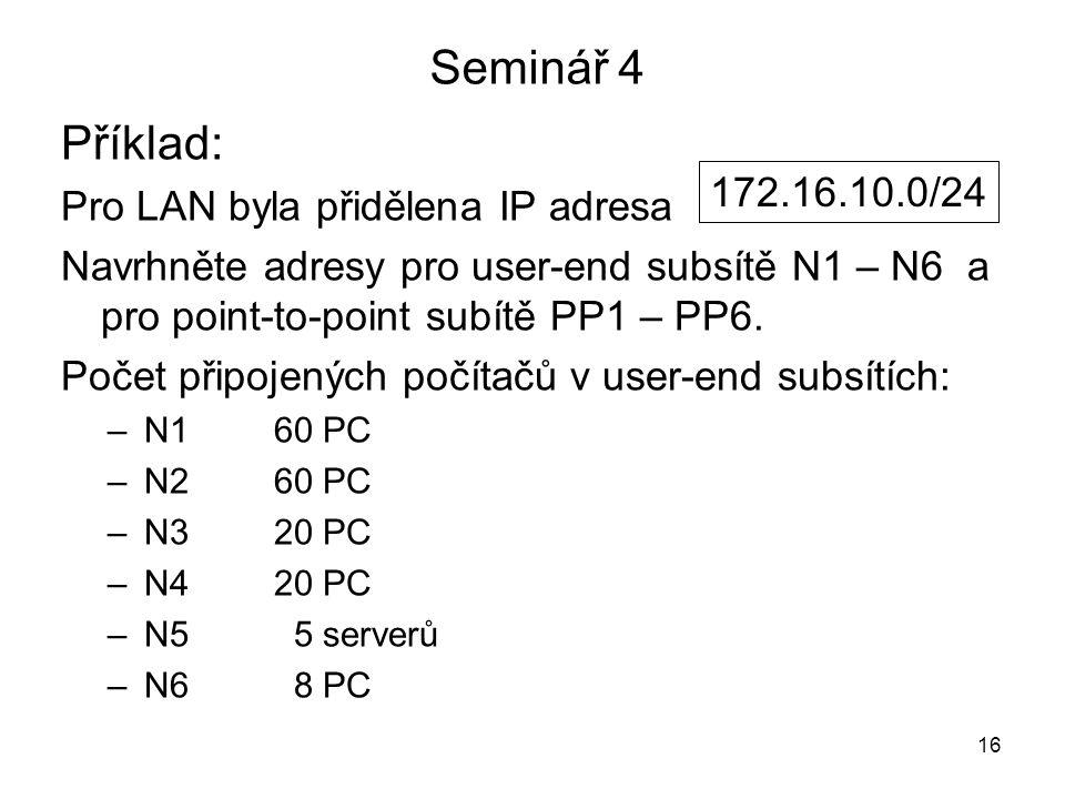 Seminář 4 Příklad: Pro LAN byla přidělena IP adresa Navrhněte adresy pro user-end subsítě N1 – N6 a pro point-to-point subítě PP1 – PP6. Počet připoje
