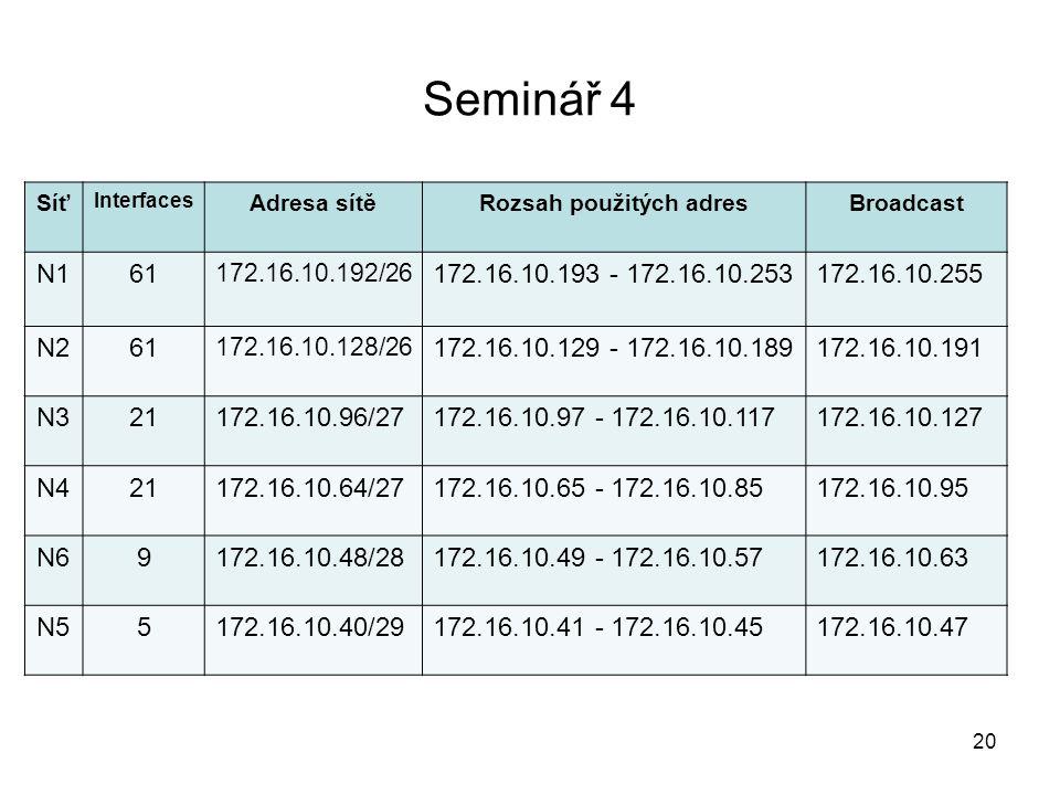 Seminář 4 Síť Interfaces Adresa sítěRozsah použitých adresBroadcast N161 172.16.10.192/26 172.16.10.193 - 172.16.10.253172.16.10.255 N261 172.16.10.12
