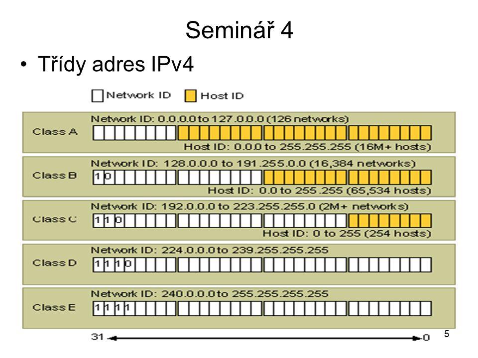 Seminář 4 Třídy adres IPv4 5