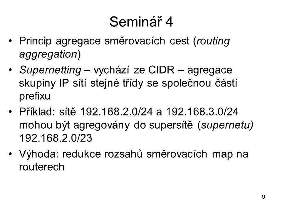 Princip agregace směrovacích cest (routing aggregation) Supernetting – vychází ze CIDR – agregace skupiny IP sítí stejné třídy se společnou částí pref