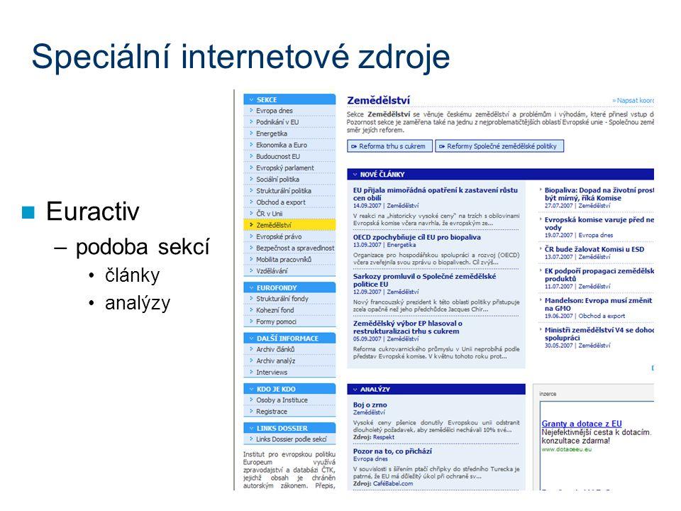 Speciální internetové zdroje Euractiv –podoba sekcí články analýzy