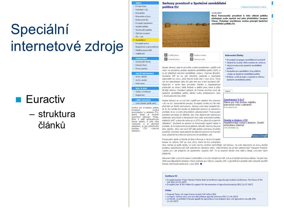 Speciální internetové zdroje Euractiv –struktura článků