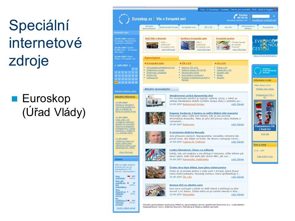 Speciální internetové zdroje Euroskop (Úřad Vlády)