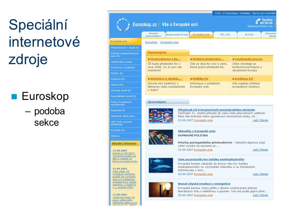 Speciální internetové zdroje Euroskop –podoba sekce