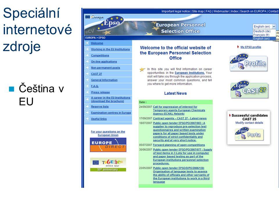 Speciální internetové zdroje Čeština v EU