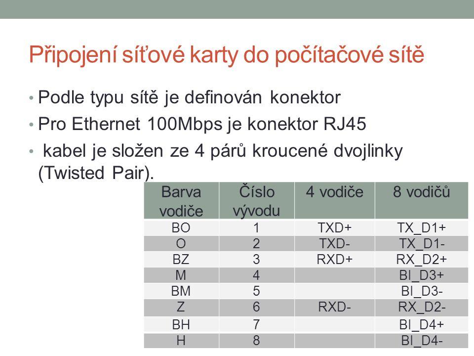 Připojení síťové karty do počítačové sítě Podle typu sítě je definován konektor Pro Ethernet 100Mbps je konektor RJ45 kabel je složen ze 4 párů kroucené dvojlinky (Twisted Pair).