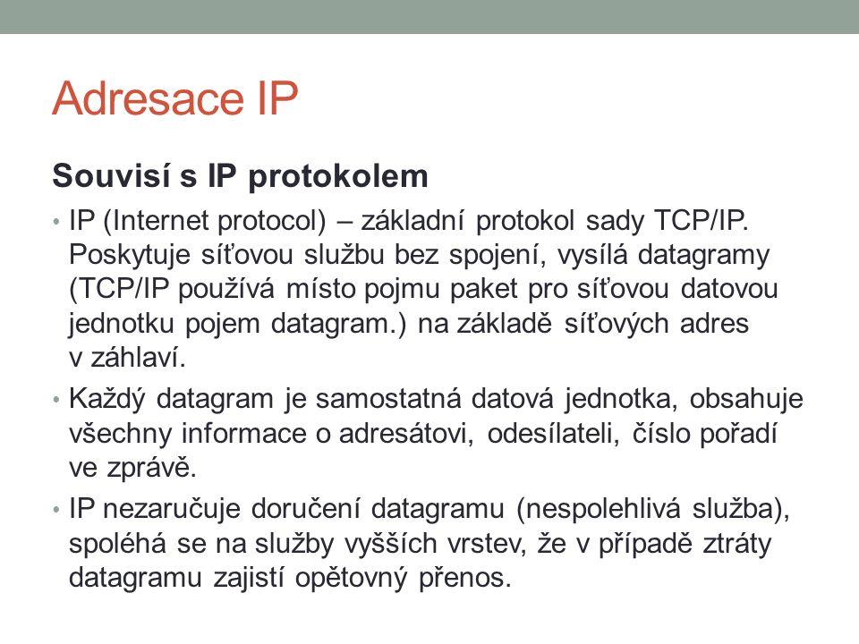 Adresace IP Souvisí s IP protokolem IP (Internet protocol) – základní protokol sady TCP/IP. Poskytuje síťovou službu bez spojení, vysílá datagramy (TC