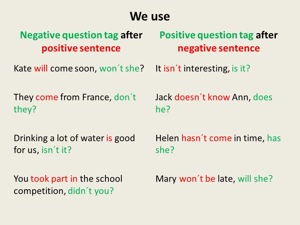 We use Negative question tag after positive sentence Kate will come soon, won´t she.