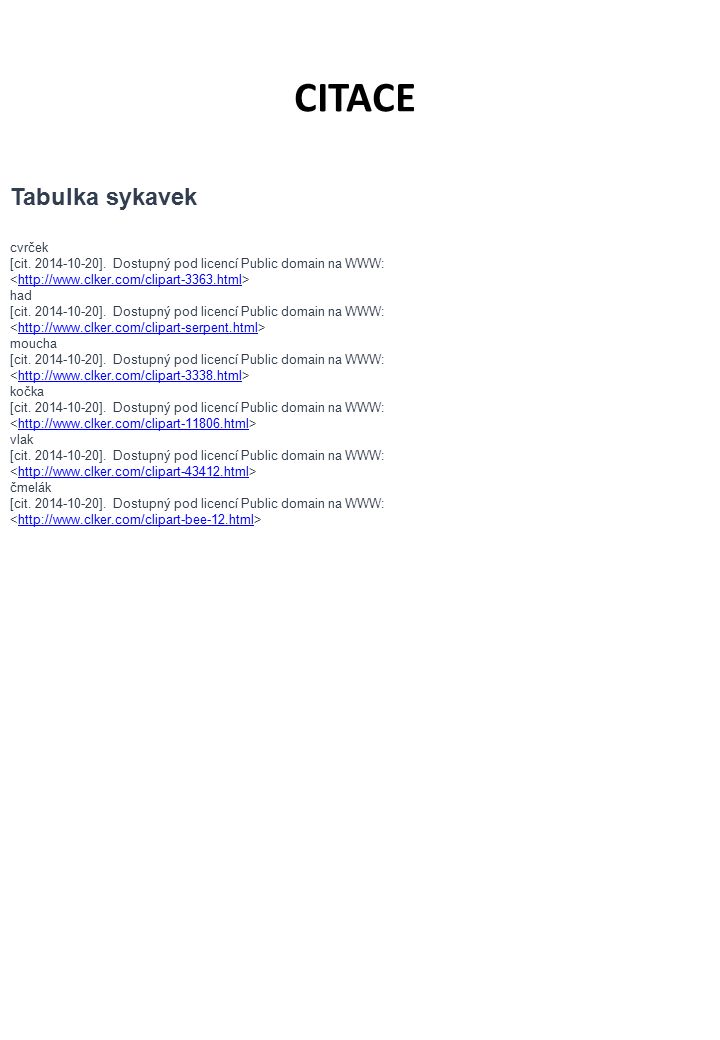 cvrček [cit. 2014-10-20]. Dostupný pod licencí Public domain na WWW: http://www.clker.com/clipart-3363.html had [cit. 2014-10-20]. Dostupný pod licenc