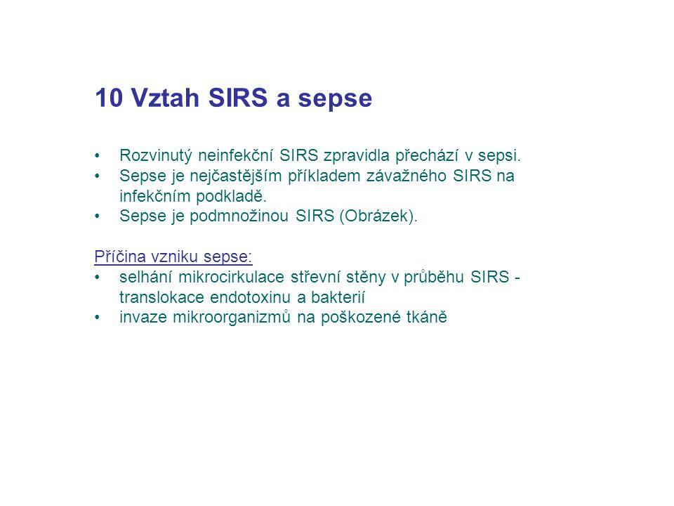 10 Vztah SIRS a sepse Rozvinutý neinfekční SIRS zpravidla přechází v sepsi. Sepse je nejčastějším příkladem závažného SIRS na infekčním podkladě. Seps