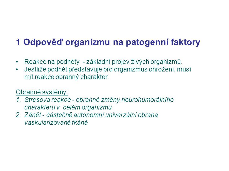 1 Odpověď organizmu na patogenní faktory Reakce na podněty - základní projev živých organizmů. Jestliže podnět představuje pro organizmus ohrožení, mu