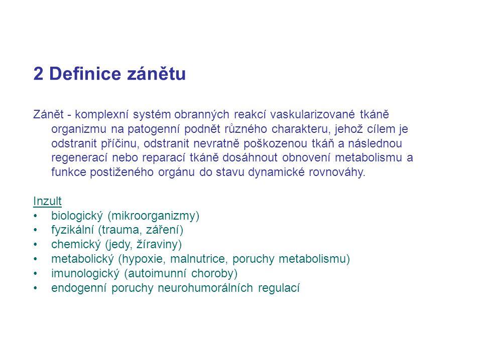 2 Definice zánětu Zánět - komplexní systém obranných reakcí vaskularizované tkáně organizmu na patogenní podnět různého charakteru, jehož cílem je ods