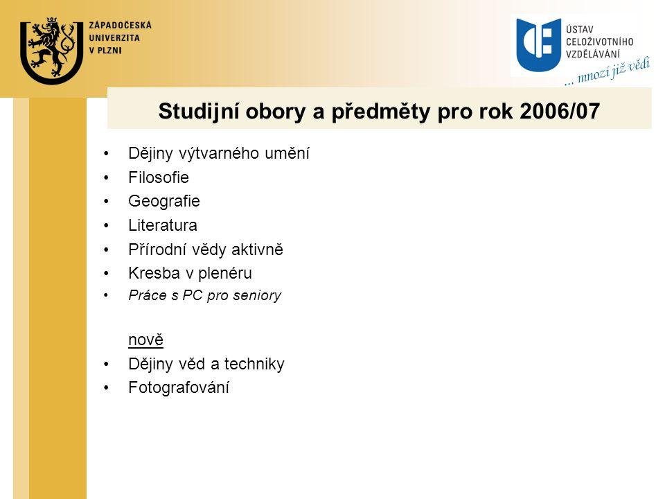 Studijní obory a předměty pro rok 2006/07 Dějiny výtvarného umění Filosofie Geografie Literatura Přírodní vědy aktivně Kresba v plenéru Práce s PC pro