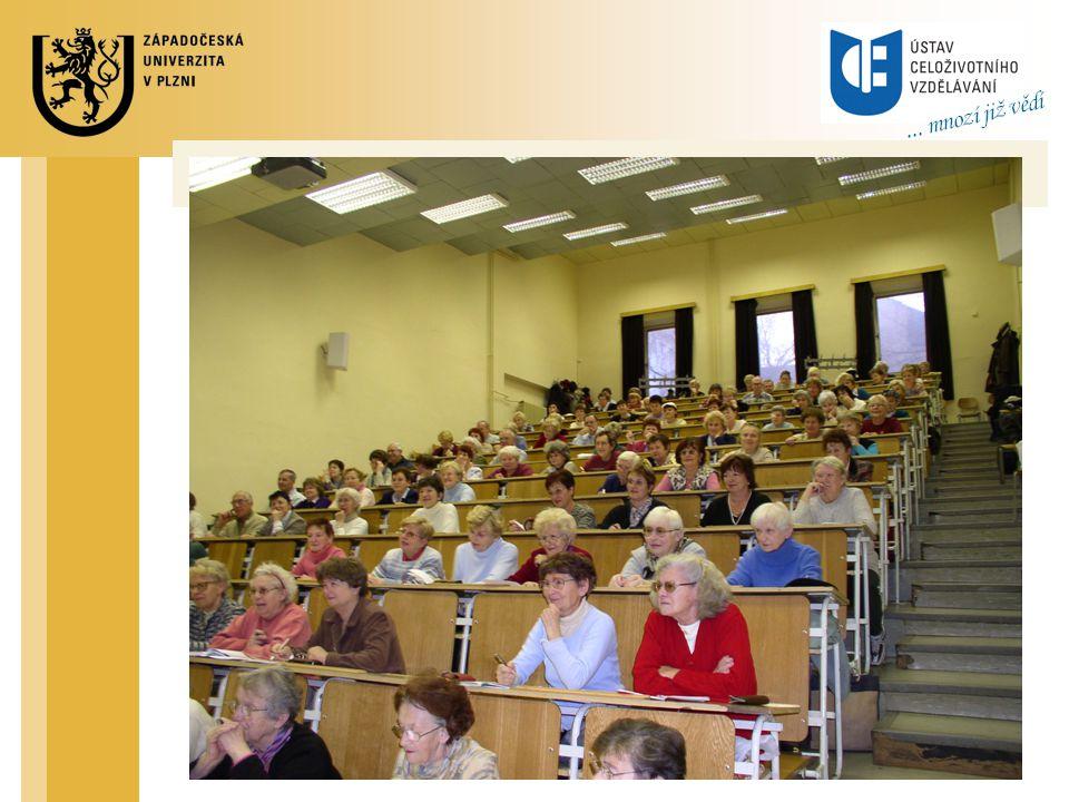 Organizace U3V U3V v Plzni je pořádána Ústavem celoživotního vzdělávání Organizace U3V je určena: Řádem celoživotního vzdělávání ZČU Organizačním řádem U3V Rada celoživotního vzdělávání ZČU Akreditace programů Rozhodování ve strategických otázkách Rada U3V – pracovní skupina Rady CV Návrhy nových programů Strategie U3V Zdroje financování U3V Rozvojové projekty ZČU a Infra U3V Účastnické poplatky – 100,- Kč/semestr/obor Rozpočet ÚCV – výnosy komerčních aktivit