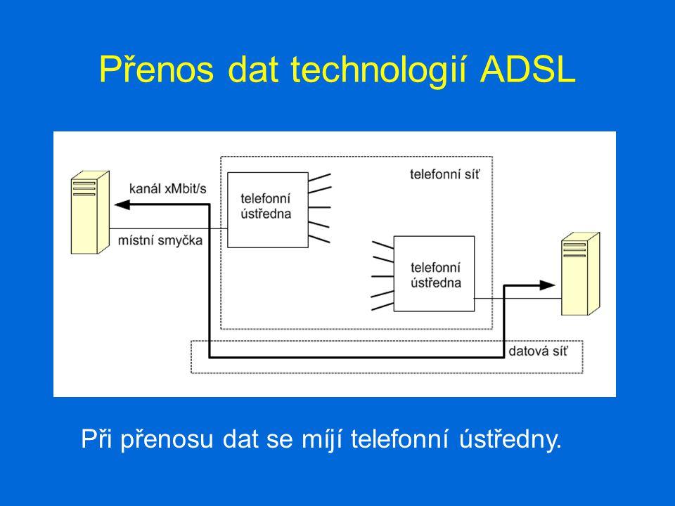 Přenos dat technologií ADSL Při přenosu dat se míjí telefonní ústředny.