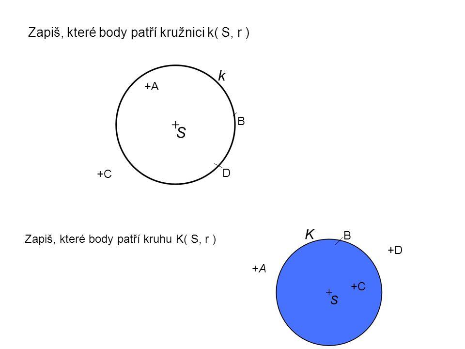 Zapiš, které body patří kružnici k( S, r ) Zapiš, které body patří kruhu K( S, r ) +A+A +C +D B +A B +C D