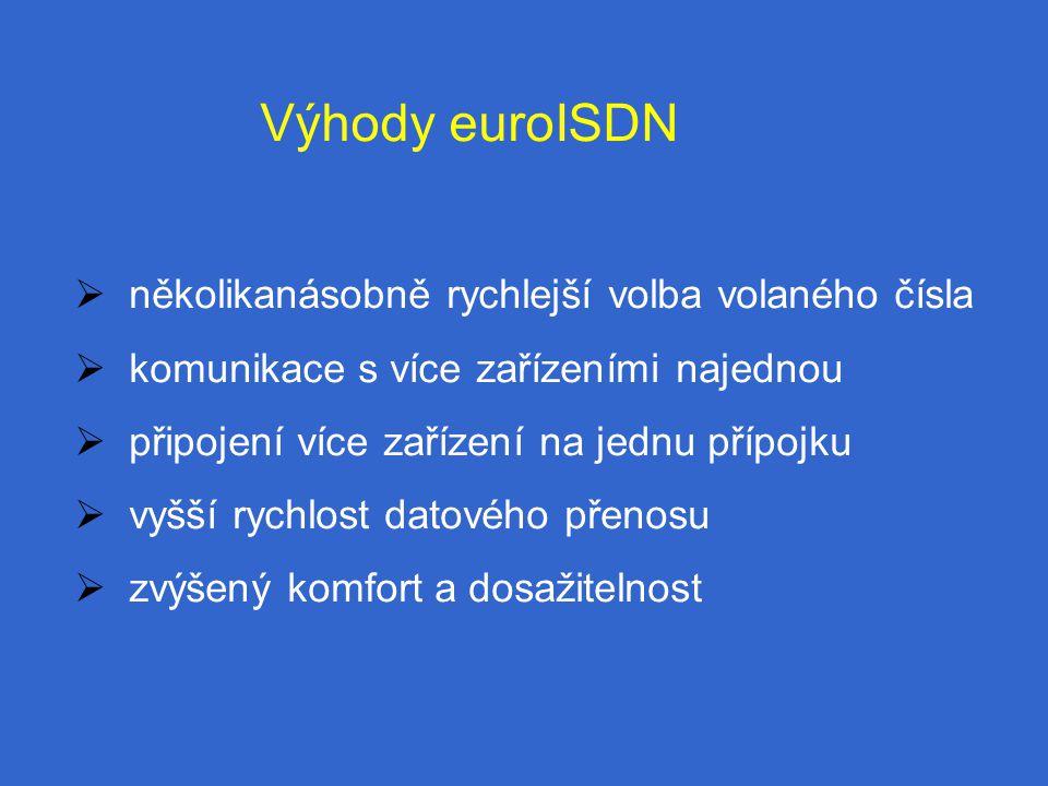 Výhody euroISDN  několikanásobně rychlejší volba volaného čísla  komunikace s více zařízeními najednou  připojení více zařízení na jednu přípojku  vyšší rychlost datového přenosu  zvýšený komfort a dosažitelnost