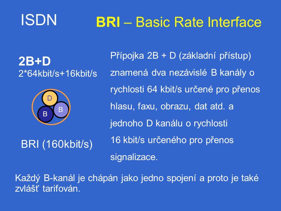 ISDN B B 2B+D 2*64kbit/s+16kbit/s BRI (160kbit/s) D BRI – Basic Rate Interface Přípojka 2B + D (základní přístup) znamená dva nezávislé B kanály o rychlosti 64 kbit/s určené pro přenos hlasu, faxu, obrazu, dat atd.