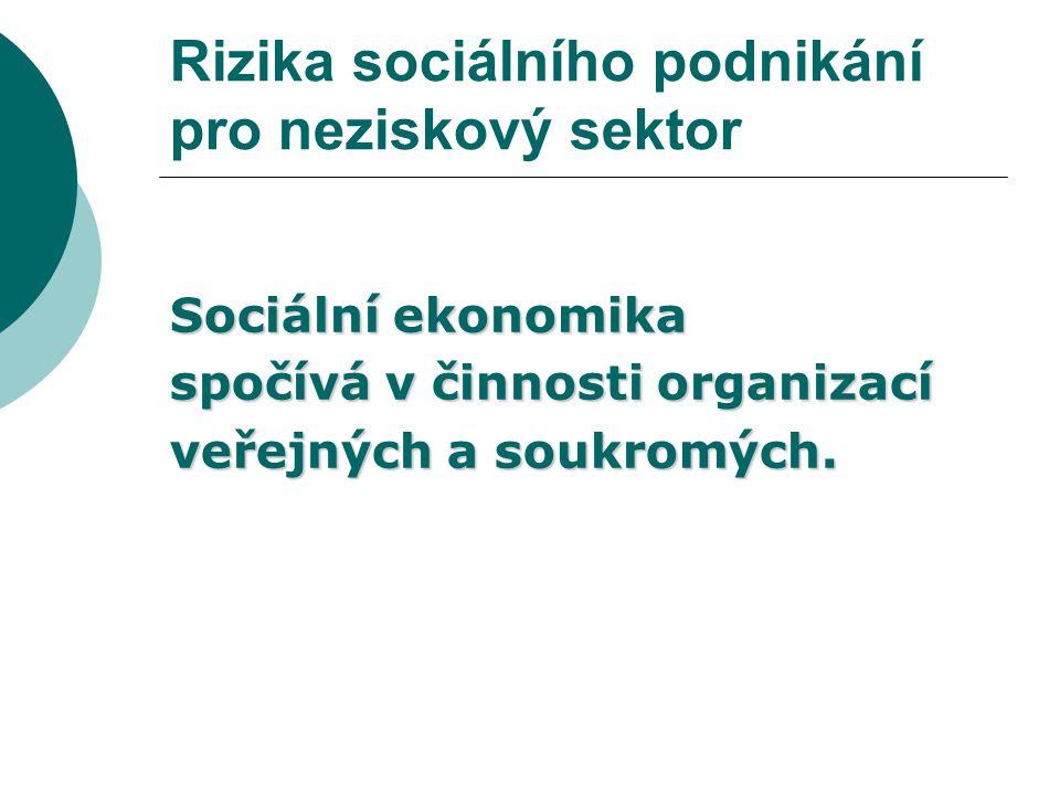 Rizika sociálního podnikání pro neziskový sektor Hlavní problémy chráněných dílen  nedostatek financí,  úbytek výrobních programů.
