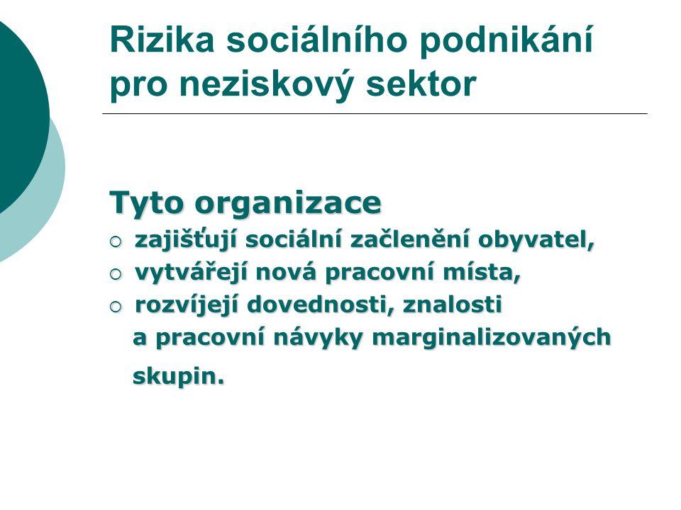 Rizika sociálního podnikání pro neziskový sektor V současné době existuje v České republice  49 družstev,  155 společností s ručením omezeným,  10 akciových společností,  56 veřejně obchodních společností,  136 fyzických osob – podnikatelů,  17 občanských sdružení,
