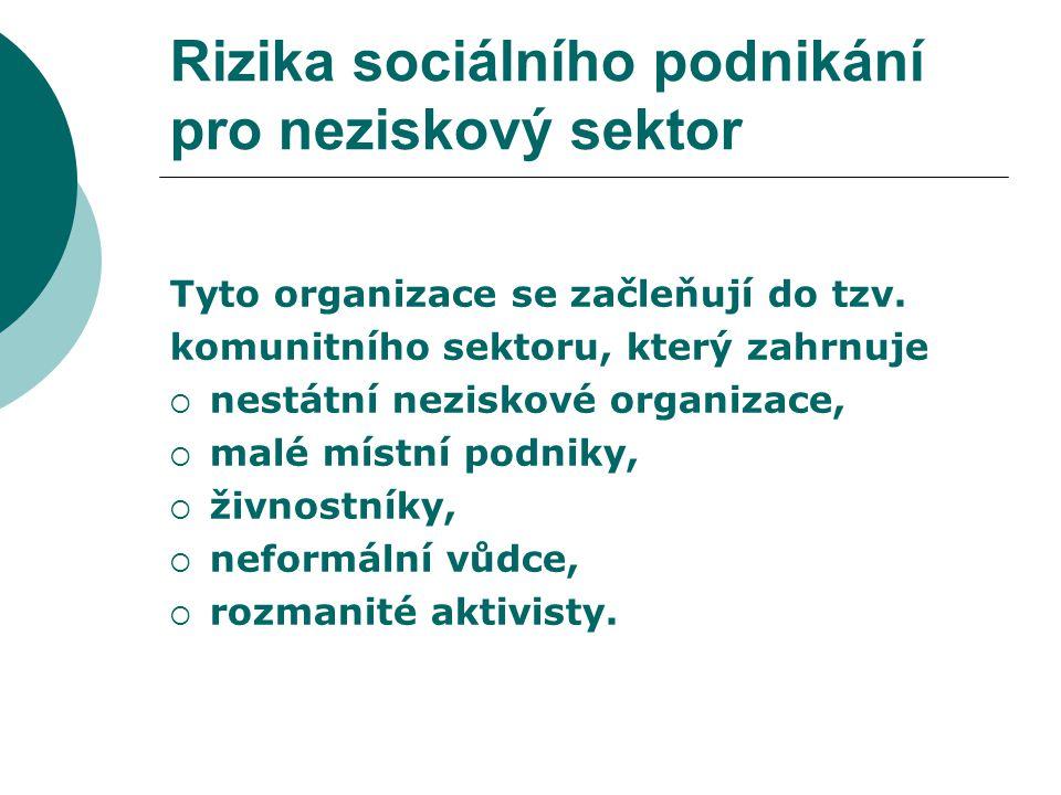 Rizika sociálního podnikání pro neziskový sektor Sociální družstva  malé podniky,  jejich předmět činnosti nevyžaduje velké kapitálové vstupy,  opírají se o tržní požadavky místní a regionální.