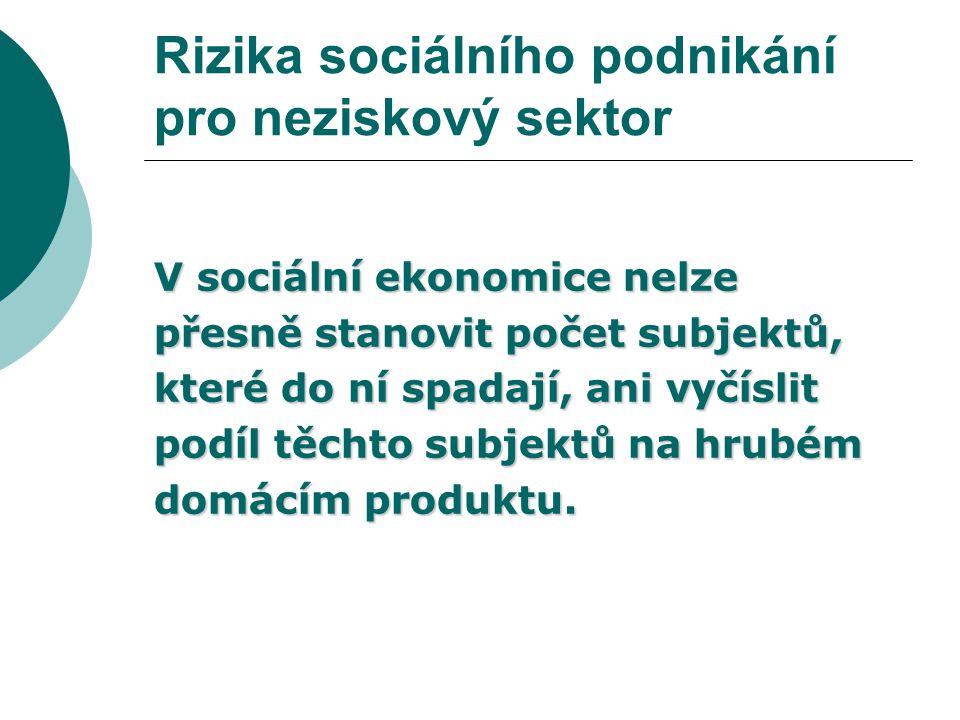 Rizika sociálního podnikání pro neziskový sektor Mezi základní hodnoty subjektů sociální ekonomiky patří  solidarita,  sociální soudržnost,  sociální zodpovědnost,  demokratické řízení,  participace občanů  autonomie.