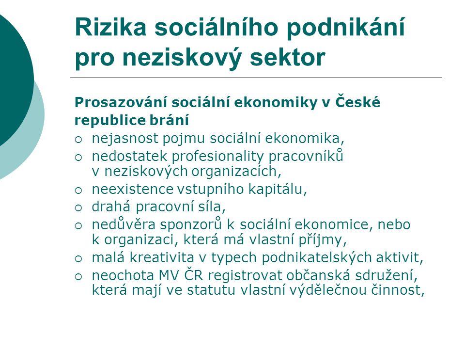 Rizika sociálního podnikání pro neziskový sektor Provozují různá zařízení sociálního charakteru, např.