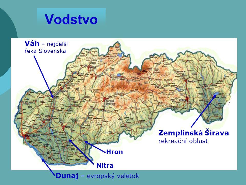 Vodstvo Dunaj – evropský veletok Váh – nejdelší řeka Slovenska Zemplínská Šírava rekreační oblast Hron Nitra