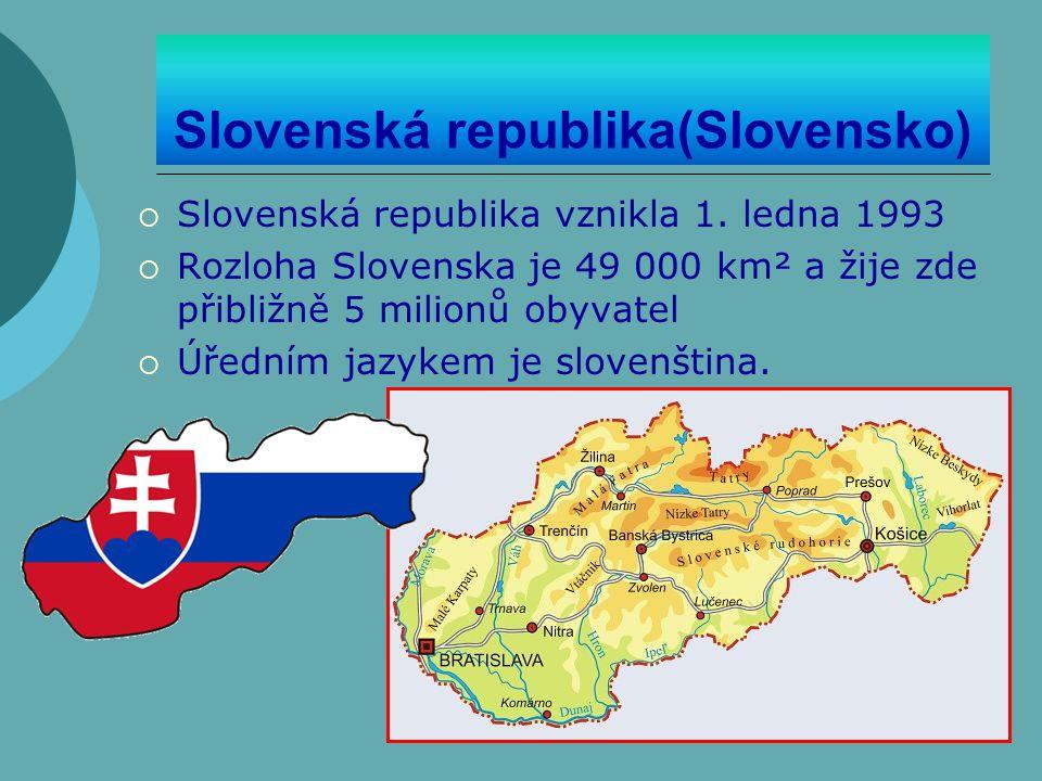 Slovenská republika(Slovensko)  Slovenská republika vznikla 1. ledna 1993  Rozloha Slovenska je 49 000 km² a žije zde přibližně 5 milionů obyvatel 
