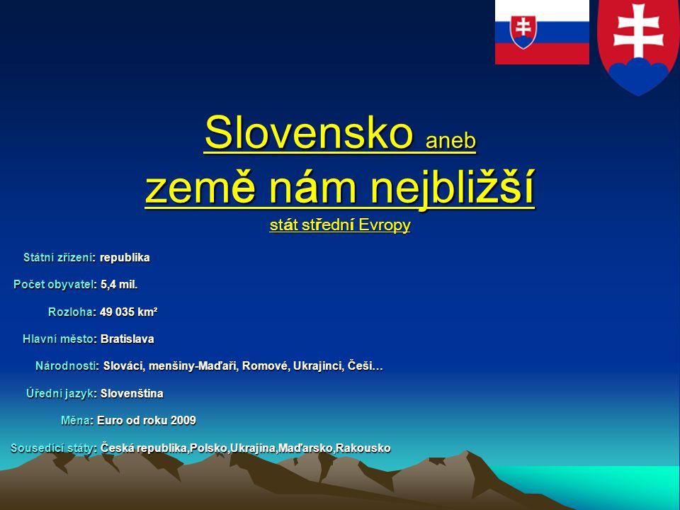 Slovensko aneb země nám nejbližší stát střední Evropy Státní zřízení: republika Státní zřízení: republika Počet obyvatel: 5,4 mil. Počet obyvatel: 5,4