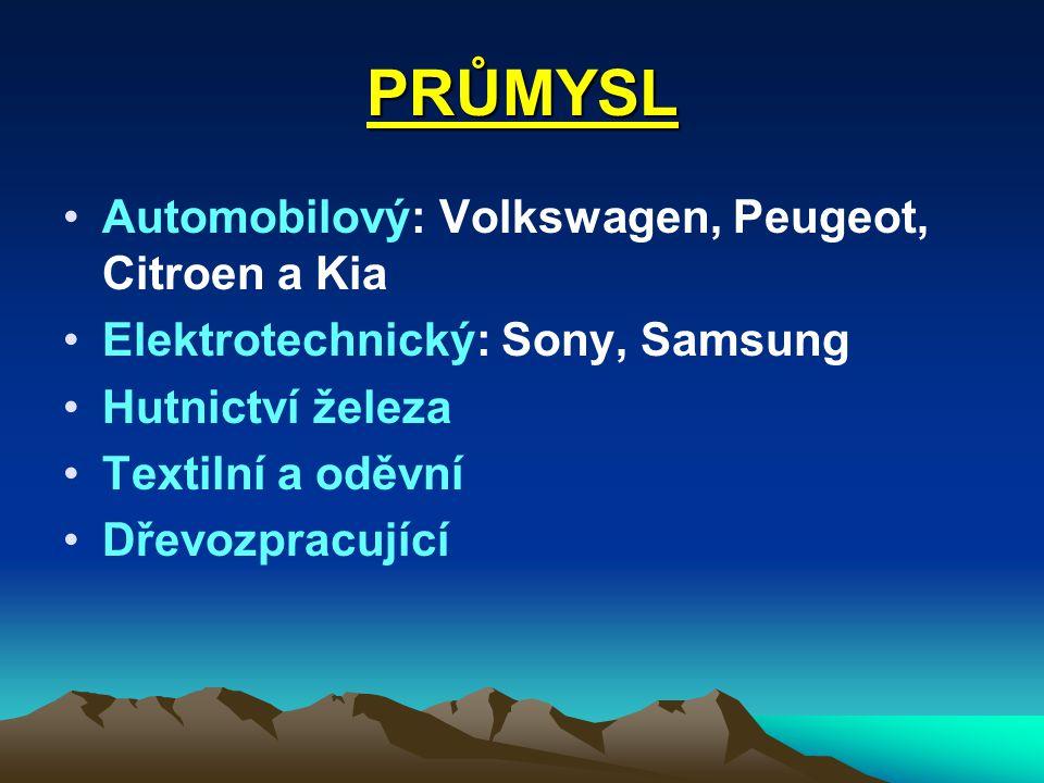 PRŮMYSL Automobilový: Volkswagen, Peugeot, Citroen a Kia Elektrotechnický: Sony, Samsung Hutnictví železa Textilní a oděvní Dřevozpracující