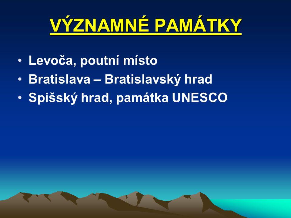 VÝZNAMNÉ PAMÁTKY Levoča, poutní místo Bratislava – Bratislavský hrad Spišský hrad, památka UNESCO
