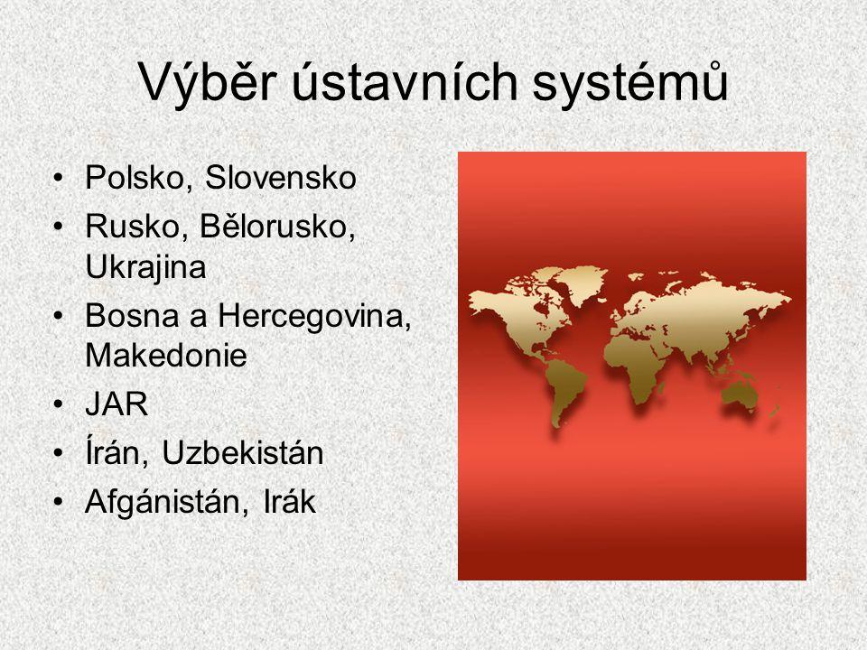 Výběr ústavních systémů Polsko, Slovensko Rusko, Bělorusko, Ukrajina Bosna a Hercegovina, Makedonie JAR Írán, Uzbekistán Afgánistán, Irák