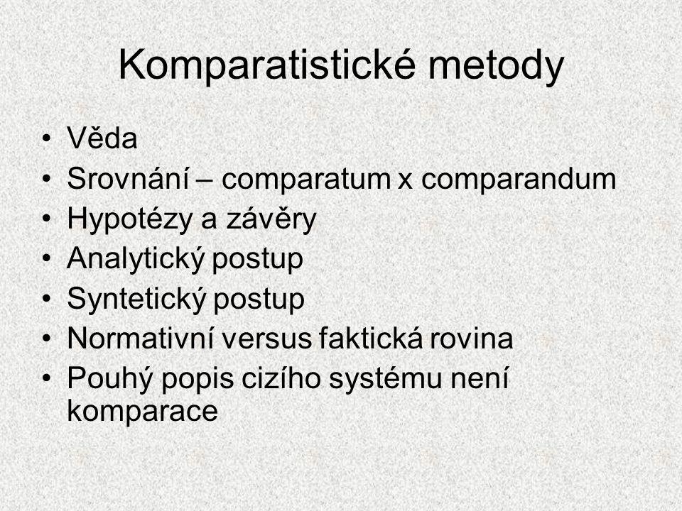Komparatistické metody Věda Srovnání – comparatum x comparandum Hypotézy a závěry Analytický postup Syntetický postup Normativní versus faktická rovin