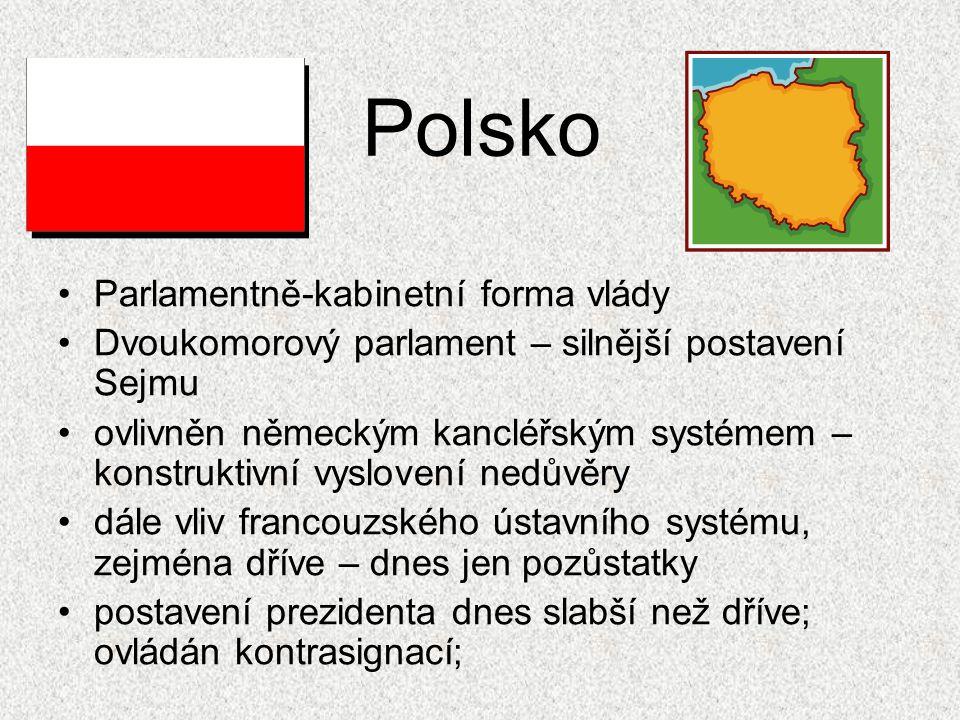 Polsko Parlamentně-kabinetní forma vlády Dvoukomorový parlament – silnější postavení Sejmu ovlivněn německým kancléřským systémem – konstruktivní vysl