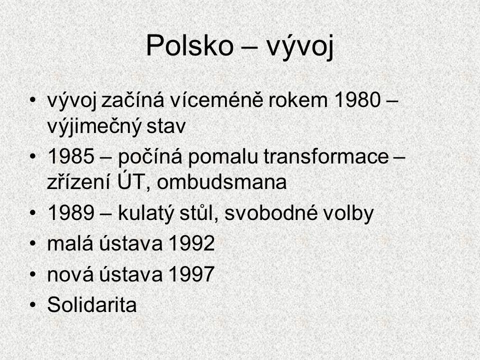 Polsko – vývoj vývoj začíná víceméně rokem 1980 – výjimečný stav 1985 – počíná pomalu transformace – zřízení ÚT, ombudsmana 1989 – kulatý stůl, svobod