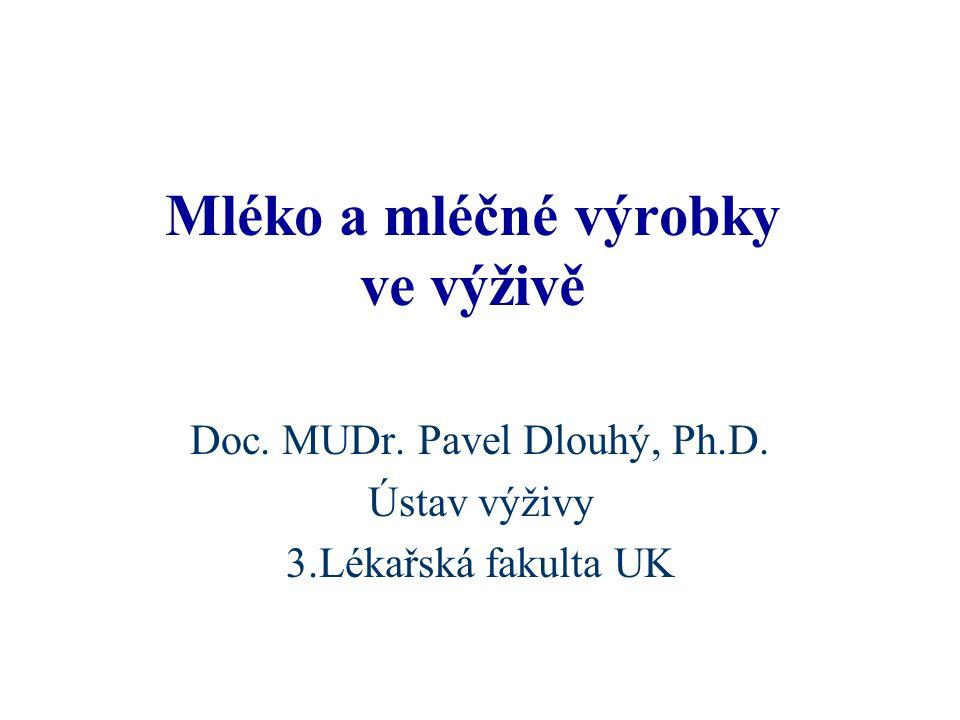 Mléko a mléčné výrobky ve výživě Doc. MUDr. Pavel Dlouhý, Ph.D. Ústav výživy 3.Lékařská fakulta UK