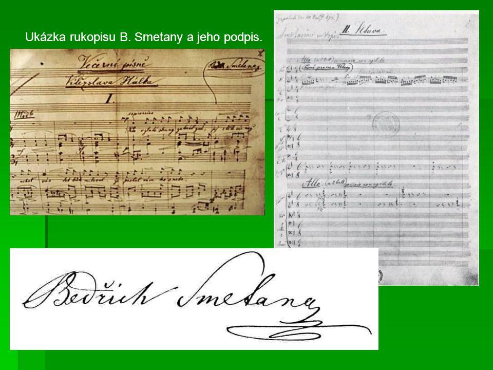 Ukázka rukopisu B. Smetany a jeho podpis.