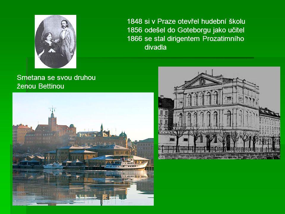 1848 si v Praze otevřel hudební školu 1856 odešel do Goteborgu jako učitel 1866 se stal dirigentem Prozatimního divadla Smetana se svou druhou ženou B