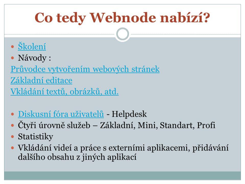 Co tedy Webnode nabízí? Školení Návody : Průvodce vytvořením webových stránek Základní editace Vkládání textů, obrázků, atd. Diskusní fóra uživatelů -