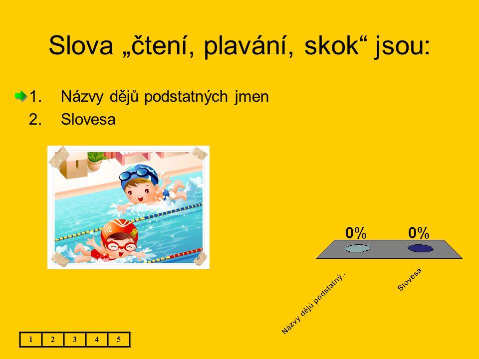 """Slova """"čtení, plavání, skok"""" jsou: 12345 1.Názvy dějů podstatných jmen 2.Slovesa"""