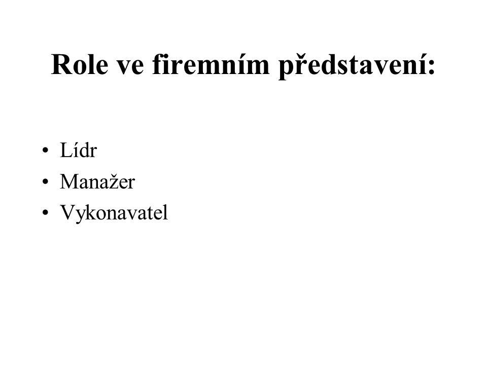 Role lídra Definice strategického rámce –operační strategický interval (vykonávaný) –rozvojové strategické intervaly (3 připravované) Prodej strategického rámce do nitra firmy –výběr, motivace a habilitace manažerů