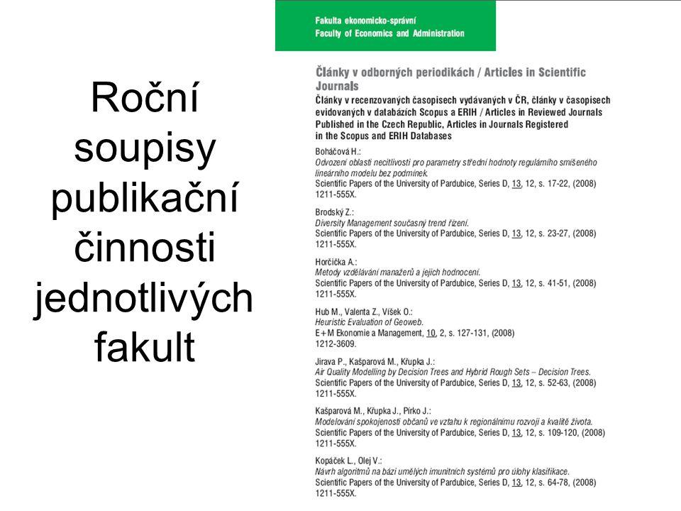 Roční soupisy publikační činnosti jednotlivých fakult