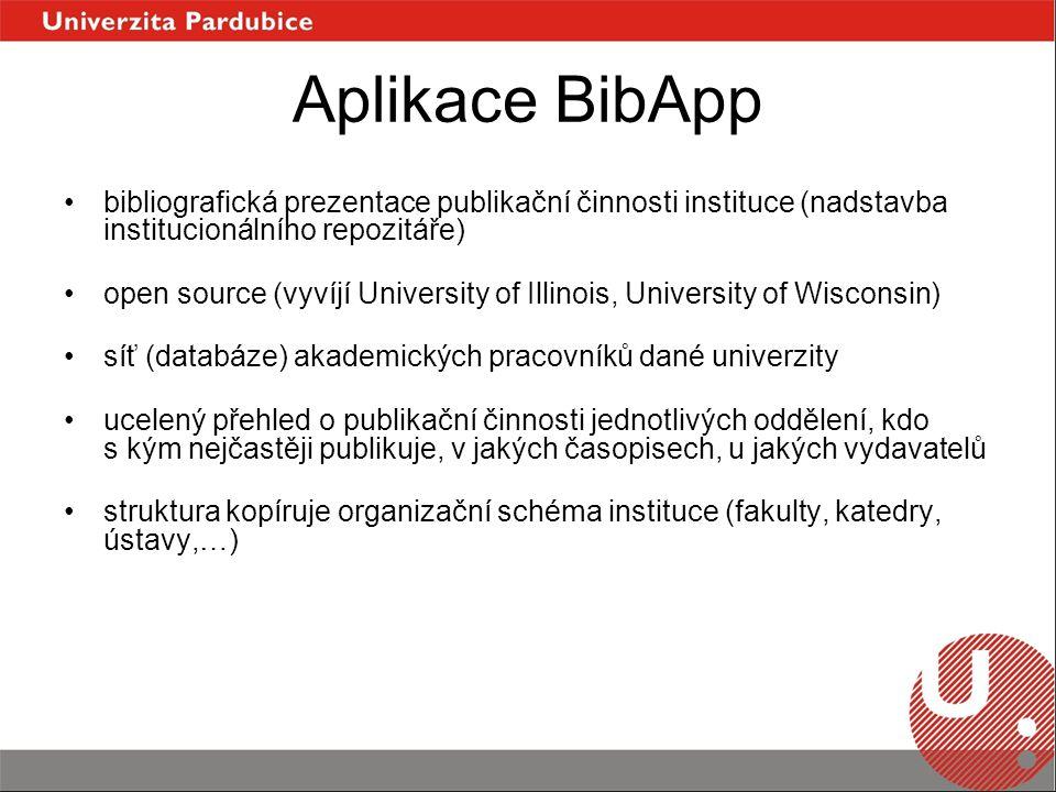 Aplikace BibApp bibliografická prezentace publikační činnosti instituce (nadstavba institucionálního repozitáře) open source (vyvíjí University of Illinois, University of Wisconsin) síť (databáze) akademických pracovníků dané univerzity ucelený přehled o publikační činnosti jednotlivých oddělení, kdo s kým nejčastěji publikuje, v jakých časopisech, u jakých vydavatelů struktura kopíruje organizační schéma instituce (fakulty, katedry, ústavy,…)