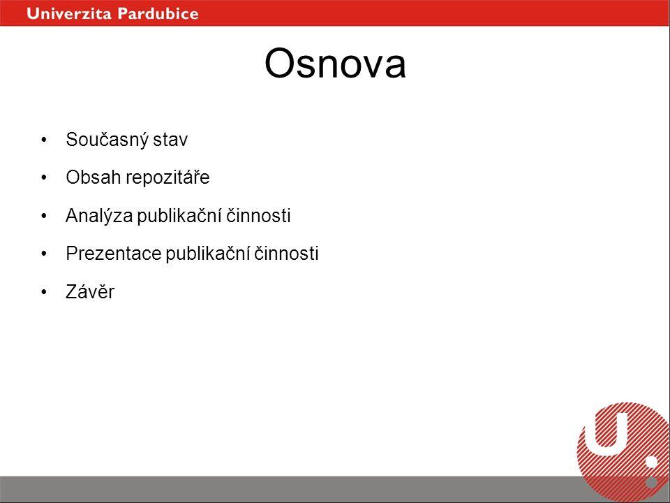 Osnova Současný stav Obsah repozitáře Analýza publikační činnosti Prezentace publikační činnosti Závěr