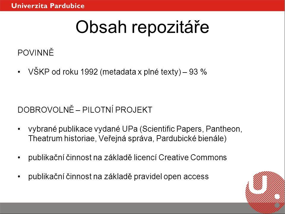 Obsah repozitáře POVINNĚ VŠKP od roku 1992 (metadata x plné texty) – 93 % DOBROVOLNĚ – PILOTNÍ PROJEKT vybrané publikace vydané UPa (Scientific Papers